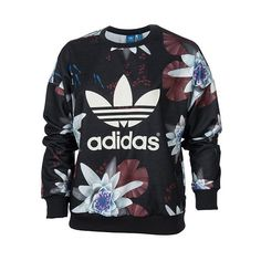 Women's adidas Originals Lotus Print French Terry Crew Sweatshirt ($35) ❤ liked on Polyvore featuring tops, hoodies, sweatshirts, black lotus print, black floral top, patterned sweatshirts, french terry sweatshirt, black sweat shirt and floral sweatshirt