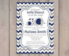 Navy and Grey Elephants Baby Shower Invitation, Printable, Boy Baby Shower, Chevron, Mom and baby Elephant, Printable - 211