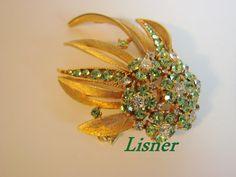 50s60s Vintage Large Lisner Green Rhinestone Floral by JoysShop, $22.95