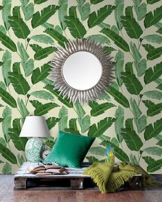 Banana Leaves - Mind The Gap Wallpaper Collection at Rose & Grey. Buy online now from Rose & Grey, eclectic home accessories and stylish furniture for vintage and modern living. Classic Wallpaper, Modern Wallpaper, Designer Wallpaper, Eclectic Wallpaper, Wallpaper Panels, Of Wallpaper, Leaves Wallpaper, Wallpaper Designs, Beautiful Wallpaper