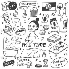 Me Time Concept Doodle Illustration Stock Vector (Royalty Free) 1555003151 Cute Doodle Art, Cute Doodles, Doodle Art Drawing, Me Time, No Time For Me, Doodle Cake, Doodle Art For Beginners, Yearbook Covers, Doodle Tattoo
