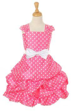 Guava Taffeta Cute Polka Dots Pick Up Girl Dress Coral Flower Girl Dresses, Girls Dresses, Summer Dresses, Girls Designer Clothes, White Polka Dot Dress, Polka Dots, First Communion Dresses, Dresses For Less, Pageant Dresses