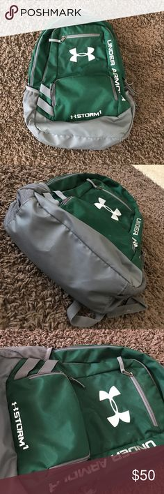 Under Armour Storm 1 Heat Gear backpack Used, but in great condition! Green and gray in color. All pictures show the normal wear the backpack has, no major stains, rips or tears. Inside of the backpack is perfect with no flaws. Adjustable straps that are nicely padded. Under Armour Bags Backpacks