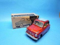 Vintage 1960 EX Bandai Friction Car FIAT600 Tin Toy Rare With box From Japan #Bandai