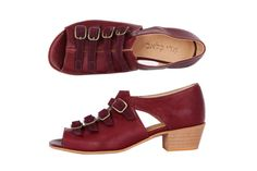 10 % OFF Marsala sandals Bordeaux leather Suede starps by ADIKILAV