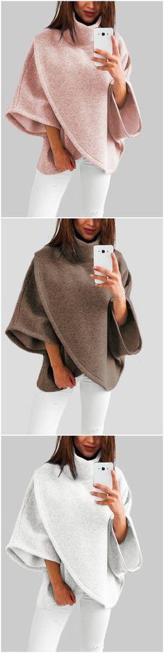 Chimney Collar Flared Sleeves Irregular Hem Sweater