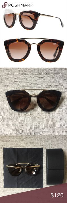 334177c57018e Prada Cinema sunglasses (authentic) Cat eye aviator-inspired design  featuring gradient lenses in the Havana color. Style number is Case and  dust cloth ...