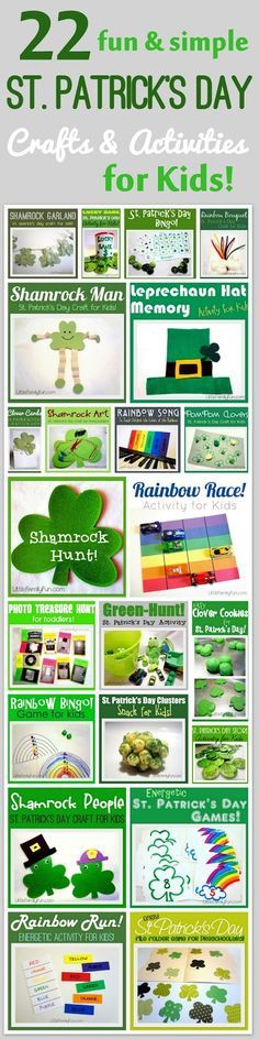 St. Patrick's Day Crafts & Activities for Kids! I like the idea of doing a shamrock hunt around the library.