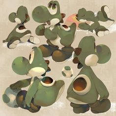 Yoshi ^ ^ by - Koki (Kokikun) Mundo Super Mario, Super Mario Bros, Gamers Anime, Video Game Art, Video Games, Mario And Luigi, Creature Design, Anime Style, Yoshi