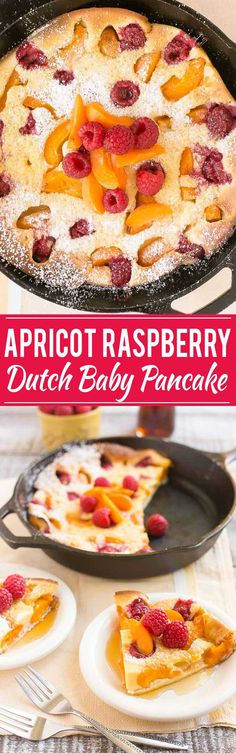 Tired of standing at the stove flipping pancakes? This giant raspberry apricot dutch baby pancake bakes in the oven and is a showstopping addition to your breakfast or brunch - no flipping required!