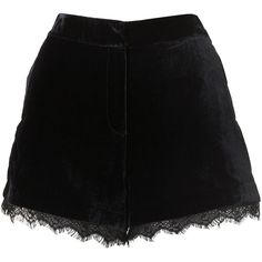 TOPSHOP Velvet Lace Shorts ($25) ❤ liked on Polyvore featuring shorts, skirts, bottoms, lace, navy blue, topshop shorts, navy blue lace shorts, velvet shorts, tailored shorts and lace trim shorts