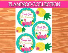 FLAMINGO Party THANK You Circles Printables by KROWNKREATIONS