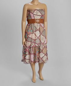 Loving this Pink & Green Patchwork Belted Maxi Dress - Plus on #zulily! #zulilyfinds