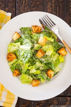 Caesar Salad with Homemade Croutons }   JustOneCookbook.com
