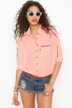 Trimmed Pocket Blouse - Peach  	  	  	  		  			  		  		  			  	                  	              	        $48.00
