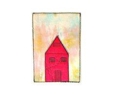 Fiber art card  Magenta house by BozenaWojtaszek on Etsy,