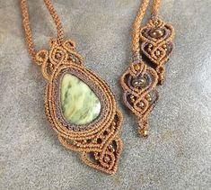 Macrame Necklace, Kumihimo Necklace, Green Jasper With Brown Thread, Macrame Pendant