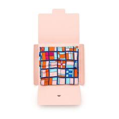 Silk scarf package design, silk bandana by Joyce and Nim. Milan Italy
