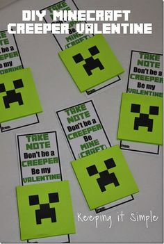 Super Easy DIY Minecraft Creeper No Candy Valentine with Free Printable: Creeper Post it note pad. @keepingitsimple