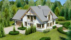 Projekt domu Dom przy Przyjaznej 11 - DOM EB4-75 - gotowy projekt domu Home Fashion, My House, Floor Plans, Layout, Outdoor Structures, Cabin, Mansions, House Styles, Projects