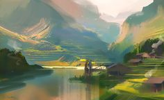 Nathan Fowkes Art - Beautiful w/c Landscape Concept, Fantasy Landscape, Landscape Art, Landscape Paintings, Environment Concept Art, Environment Design, Fantasy Kunst, Fantasy Art, Nathan Fowkes