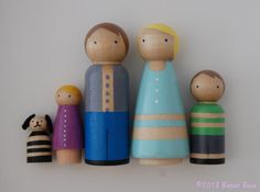 Custom Peg Doll Family Portrait 5pcs Custom by LittleRosaShop | etsy.com