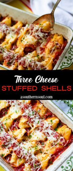 Three Cheese Stuffed Shells is a cheese lover's delight! Jumbo pasta shells are loaded with three kinds of cheese then baked in savory marinara sauce until hot and bubbly. It's the ideal recipe for an easy weeknight supper, perfect for feeding a crowd and makes a great freezer meal. Easy Dinner Recipes, Pasta Recipes, Breakfast Recipes, Easy Meals, Cooking Recipes, Weeknight Recipes, Weeknight Dinners, Cheese Recipes, Easy Cooking