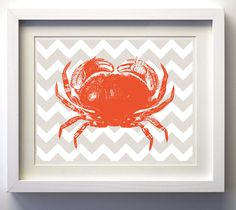 Chevron Beach Ocean Sea Crab more colors available by ZeppiPrints, $16.00