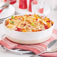 Gratin de pennes au poulet et poivrons rôtis - 5 ingredients 15 minutes