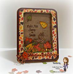 "Kimberly's Crafty Spot: Leaf Shaker card featuring Craftin Desert Divas stamp set ""Hey Pumpkin"" and Orange Truffle Trendy Twine. October 2014."