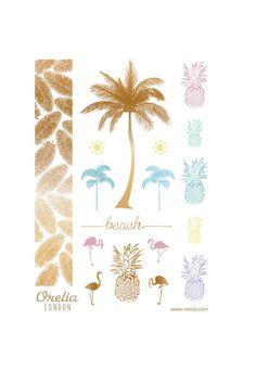 **Tatouages temporaires palmiers et ananas, Orelia
