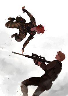 Kagura and Okita Sougo #jump #gun #army #facetoface