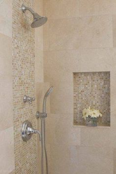 This is a great look!  Crema Marfil marble used here