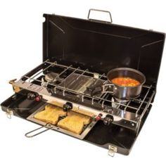 Cook up a storm in the great outdoors with this Propane Gas Folding Double Burner and Grill! Perfect for cooking breakfast and dinner for the whole group. Cook Up A Storm, Camping Stove, Oven, Kitchen Appliances, Dinner, Cooking, Argos, Summer 2015, Festivals