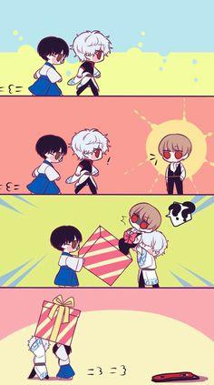 """ KAGURA, WE GOT YOU SOMETHING "" Anime Love Couple, Cute Anime Couples, Kawaii Anime, Okikagu Doujinshi, Inuyasha Fan Art, Comedy Anime, Mini Comic, Stray Dogs Anime, Anime Couples Drawings"