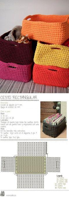 Crochet Vinyl String Handbag F Crochet Storage, Crochet Box, Crochet Basket Pattern, Crochet Motifs, Crochet Quilt, Crochet Purses, Love Crochet, Crochet Crafts, Crochet Doilies