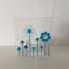 Floral Glass Plaque, Floral Candle Display Fused Glass, Kilnformed Glass, Home Decor, Gift for her, Birthday Gift, Mothers Day Gift by WarmGlassFusion on Etsy
