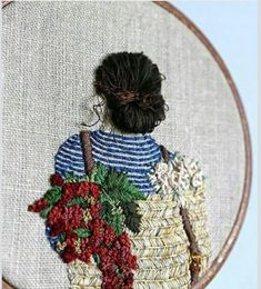 Used Threads embroideryMesmerising example of embroidery. Love the textures and tactile nature of this.embroidery of a floral girlBeautiful Artwork by RachaelGet lost in the amazing collections of the most beautiful places in the world and Art Collec Contemporary Embroidery, Modern Embroidery, Hand Embroidery Patterns, Ribbon Embroidery, Embroidery Art, Cross Stitch Embroidery, Machine Embroidery, Ideias Diy, Art Textile
