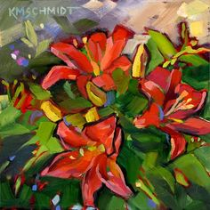 Just Landscape Animal Floral Garden Still Life Paintings by Louisiana Artist Karen Mathison Schmidt: Irresistible Joyred Asian lilies floral garden lily paintingbright outsider impressionist flower art Lily Painting, Garden Painting, Finger Painting, Art Floral, Asian Lilies, Paint And Drink, Art Aquarelle, Cool Paintings, Floral Paintings