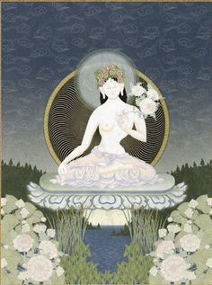 White Tārā is also known as Sita Tārā - the Sanskritsitasimply means white or pure, and is also a name for the planet Venus.  White Tārā's mantra is the basicTārāmantra with an extra phrase inserted. InMagic and Ritual in Tibet: The Cult of Tārā Stephan Beyer describes how various phrases can be inserted into the mantra depending on the needs of the person working the magic. In this case we are asking for [long] life (ayuḥ), merit (puṇya), and wisdom (jñāna).