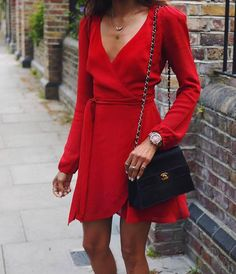 $150 All Red Everything Sexy Chic Chiffon Red Wrap Around Dress With Long Sleeves V-Neck And A Tie Waist The Perfect Summer Evening Mini Dress