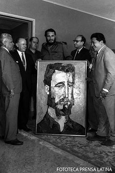 Fidel Castro with his painted portrait, Havana, Fidel Castro, Cuba, Nuclear War, Latin America, Types Of Art, Havana, Revolution, Che Guevara, The Past