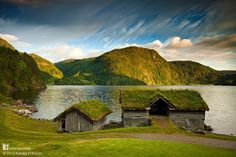 These are two of the natural homes saved by Sunnfjord Museum on Lake Movatnet in Norway. The buildings, there are twenty seven of them altogether, are from different mid-19th century farms in the Sunnfjord region. Using birch bark as a waterproof barrier you can expect a green roof like this to last 30-40 years. Discover more at www.naturalhomes.org