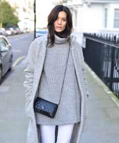 Knit by & other stories, J.Crew jeans, shoes by Tod's, coat by Ganni and bag by Chanel.