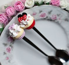 polymer clay spoon cupcake