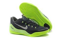 best service b88d6 8b63d Nikes 653972-615 Kobe 9 EM Low Black Green Grey mens basketball Shoes Nike  Sneakers
