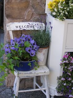 Vintage Porch Vignette - Welcome - Garden Chair Vintage Porch, Vintage Garden Decor, Garden Art, Garden Design, Chair Planter, Rustic Gardens, Garden Chairs, Patio Chairs, Container Flowers
