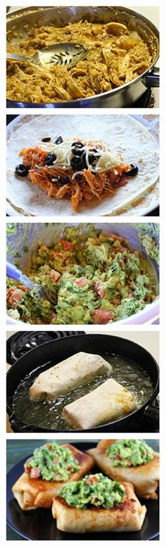 I don't like cheese, but I think I might freestyle something like this soon... Mmm... ----Chicken Chimichangas Recipe - BestFoodRecipes
