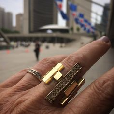 The most picturesque monument in Toronto, City Hall, serves as the perfect backdrop for our latest Wanderlust travels. Of course, Elena Votsi comes along with us. #LoveGold #Wanderlust