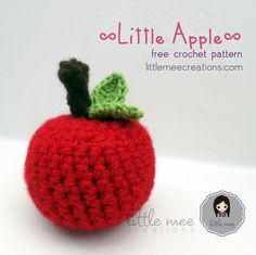 """""""This is a simple little apple that is very easy & quick to work up. You may choose to add a face for a cute amigurumi, make a bunch of apples to hang on a tree or just one by itself as part of kids play kitchen.Use any worsted weight yarn for this f Crochet Apple, Crochet Fruit, Crochet Leaves, Crochet Fall, All Free Crochet, Cute Crochet, Knit Crochet, Crocheted Afghans, Crochet Stitches"""